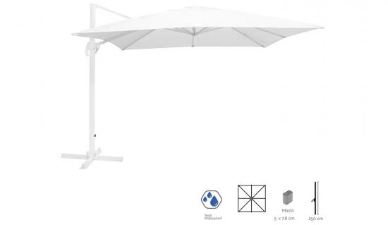 Parasol excéntrico rectangular color blanco