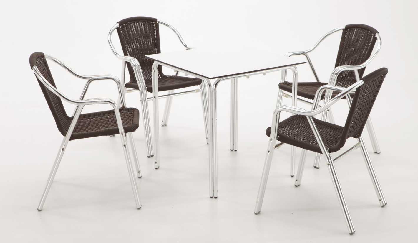 Mesa Terraza Exterior Aluminio Con Tablero Compacto Blanco 70x70