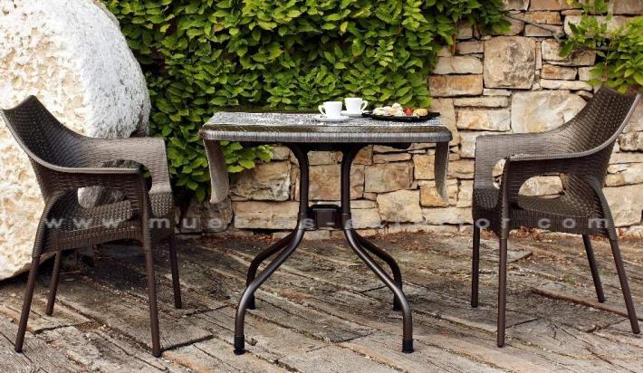 Silla de terraza polipropileno tortosa patas aluminio for Jardin y exterior muebles terraza