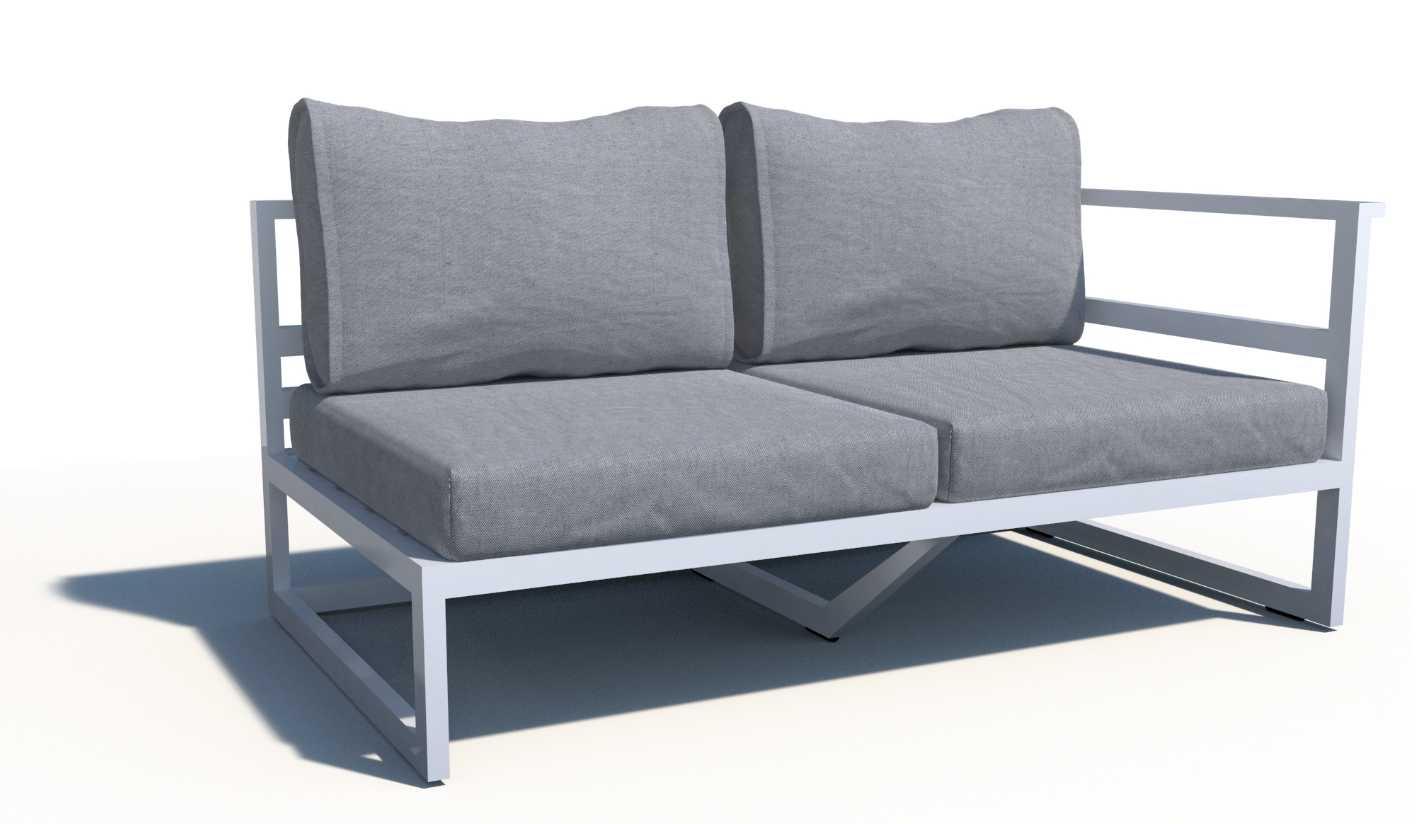 Sof con brazo izquierdo de aluminio acapulco for Sofa exterior aluminio blanco