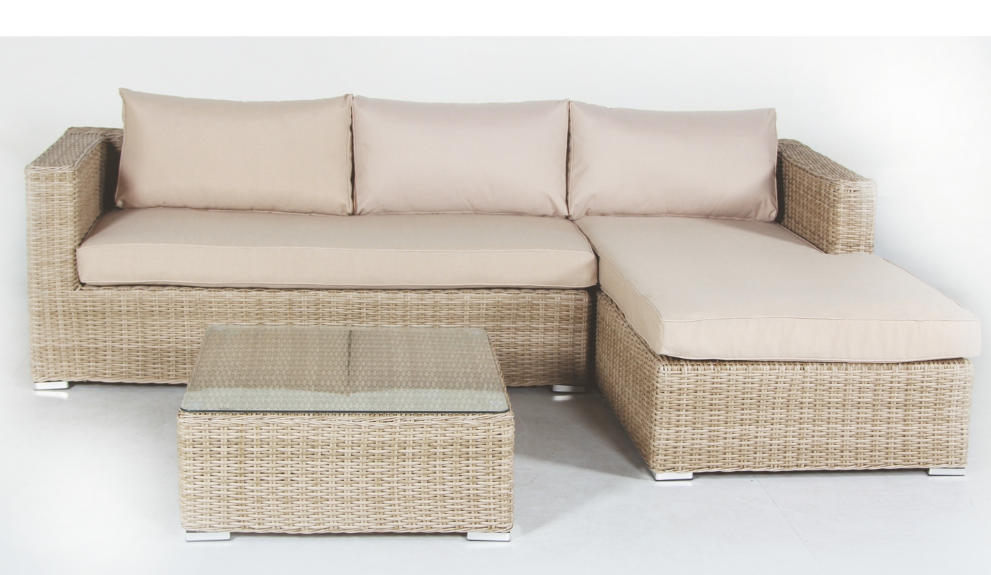 Mueble de jard n con chaise longue serena natural for Sofas de jardin baratos