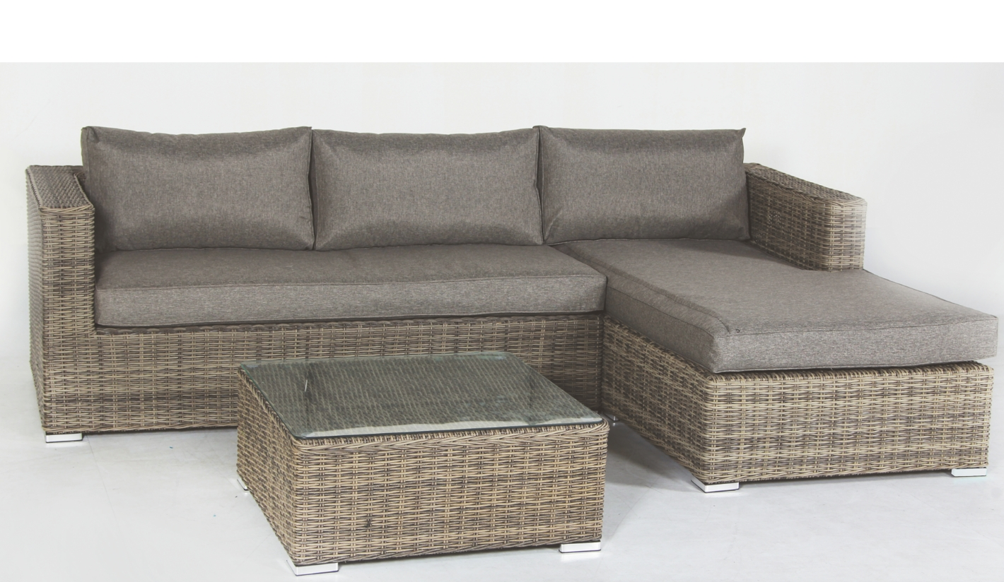 Sof de jard n con chaise longue serena gris for Sofa jardin madera