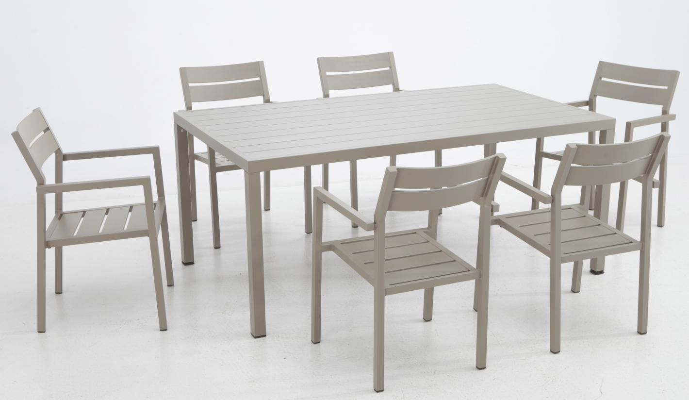 Mesa jard n aluminio arenis 180 x 102 cm for Mesa y sillas de aluminio para jardin