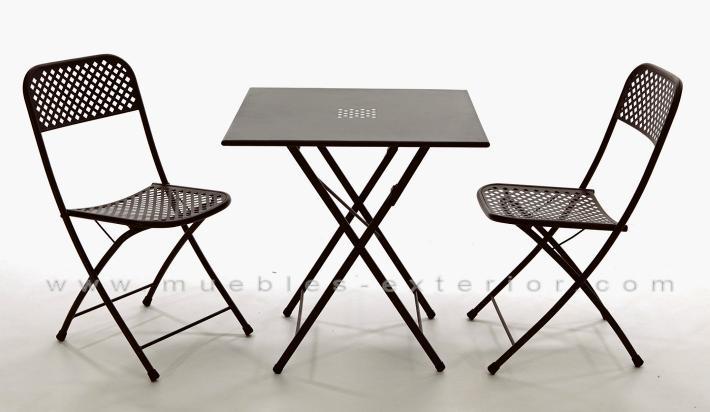 Set muebles de terraza benidorm mesa y 2 sillas for Mesas de terraza plegables