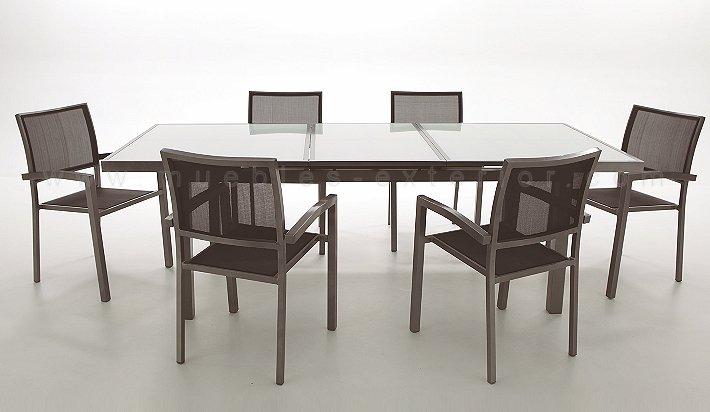 Conjunto de mesa y 6 sillas de exterior completo for Mesa y sillas plastico jardin