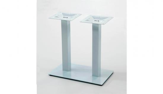 Pie en HIERRO BLANCO rectangular doble columna exterior