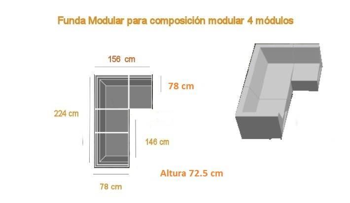 Funda para sof modular de exterior 4 m dulos - Funda sofa exterior ...