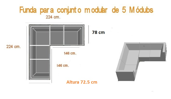 Funda para sof modular de exterior 5 m dulos for Sillon en l medidas