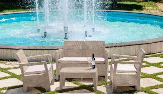 Muebles de jard n color crema for Set muebles jardin baratos