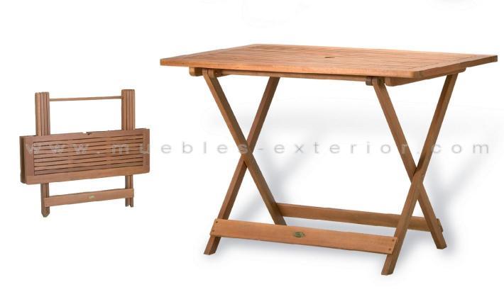 Mesa de teca plegable 120x70 cm.