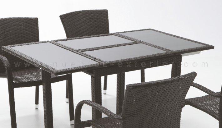 Mesa de jard n extensible 80 140 x 80 negro for Mobiliario jardin resina