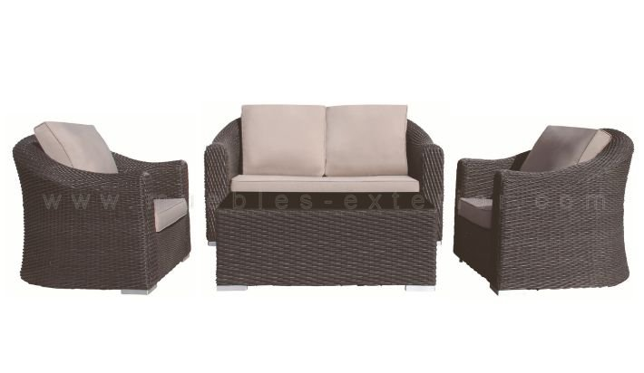Set muebles de jard n alicante for Muebles de rafia para jardin
