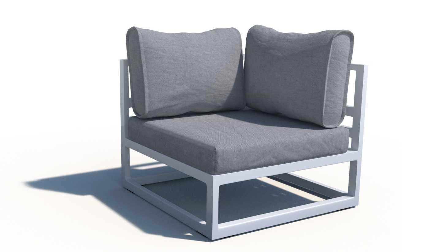 Rinconera de aluminio con tela n utica acapulco - Muebles exterior tela nautica ...