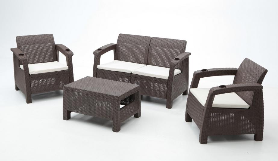 Set muebles de terraza corfu lounge chocolate for Muebles terraza exterior