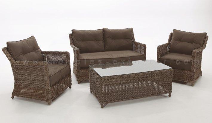 Set muebles de exterior ourense completo for Muebles de exterior de rattan