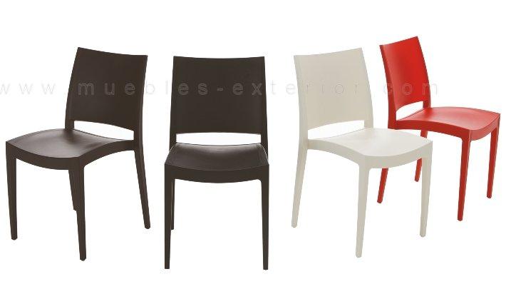 Silla exterior barata polipropileno elda for Mesa y sillas plastico jardin