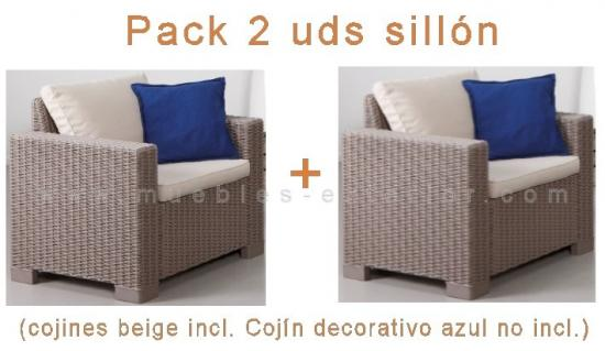 Sillon jard n topaz 1 plaza pack de 2 uds for Muebles para exterior baratos