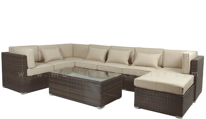 Sof mueble de jardin modular madri completo for Sofa exterior hipercor