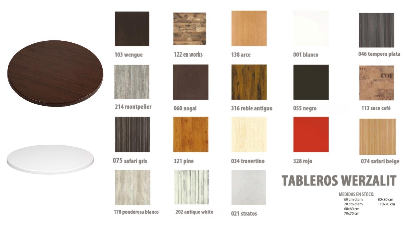 Tablero de mesa de hosteler a y exterior werzalit redondo 80 for Tableros para mesas