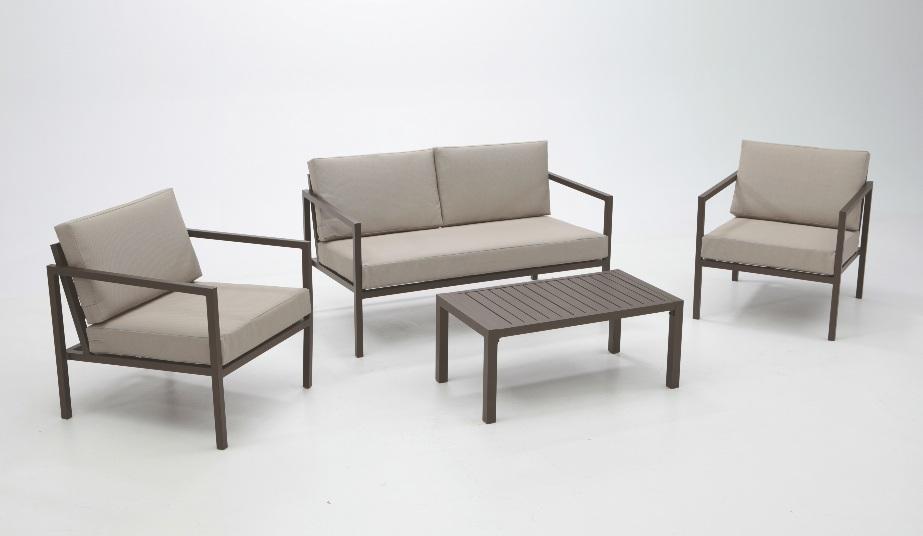 Set de sof s de aluminio sandra y susana for Muebles de exterior baratos