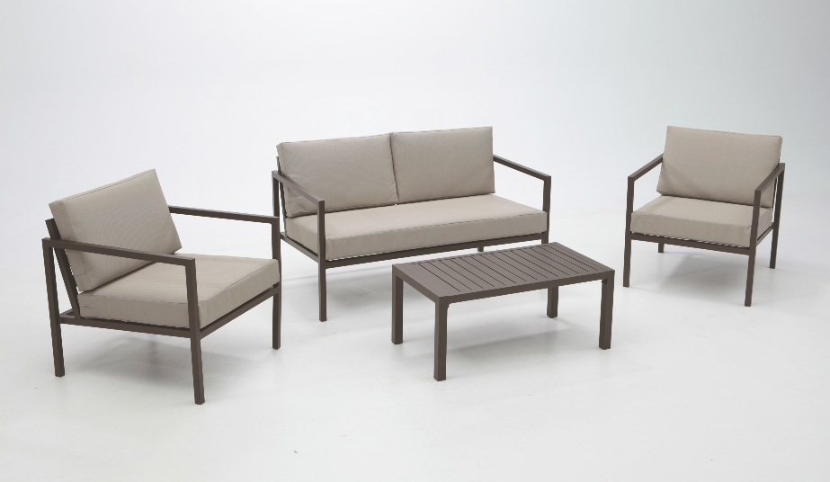 Set de sof s de jard n aluminio for Set de resina de jardin trenzado barato