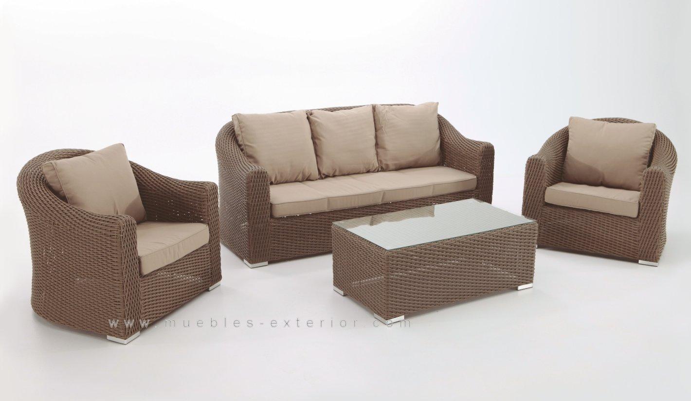 Conjunto sof s para jardin alicante moka for Muebles de exterior de rattan