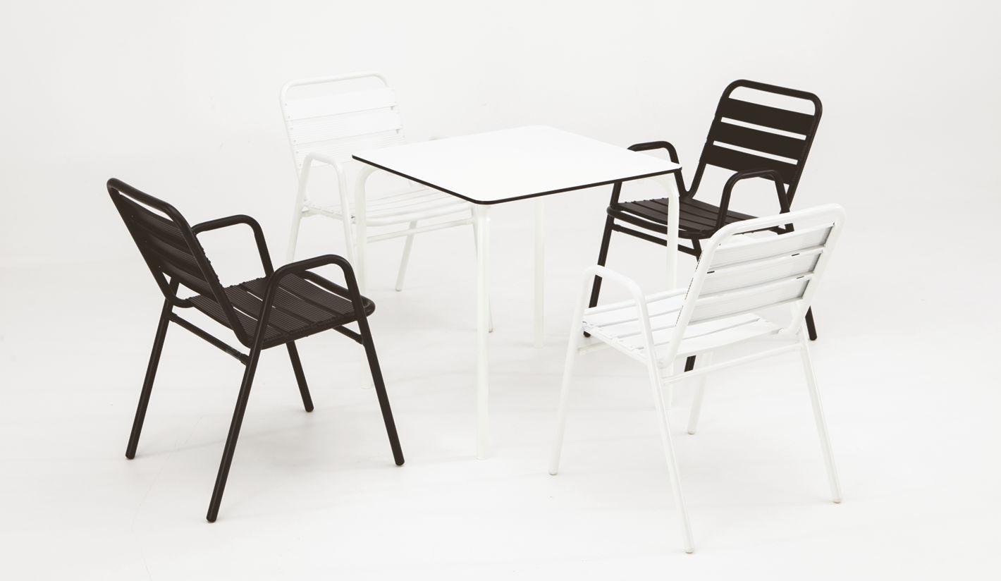 Sillas y mesas de terraza aluminio y acero for Mesas y sillas para terraza