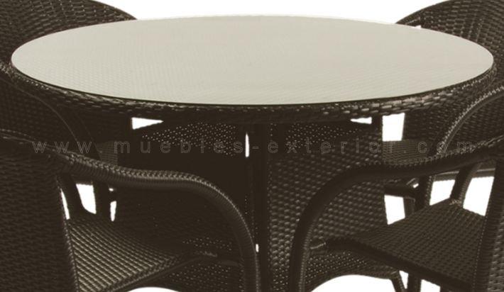Mesas de jard n redondas for Mesas de jardin de resina