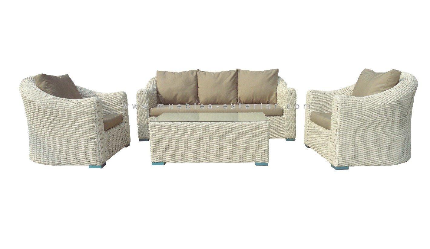 mobiliario sof s jard n rattan blanco