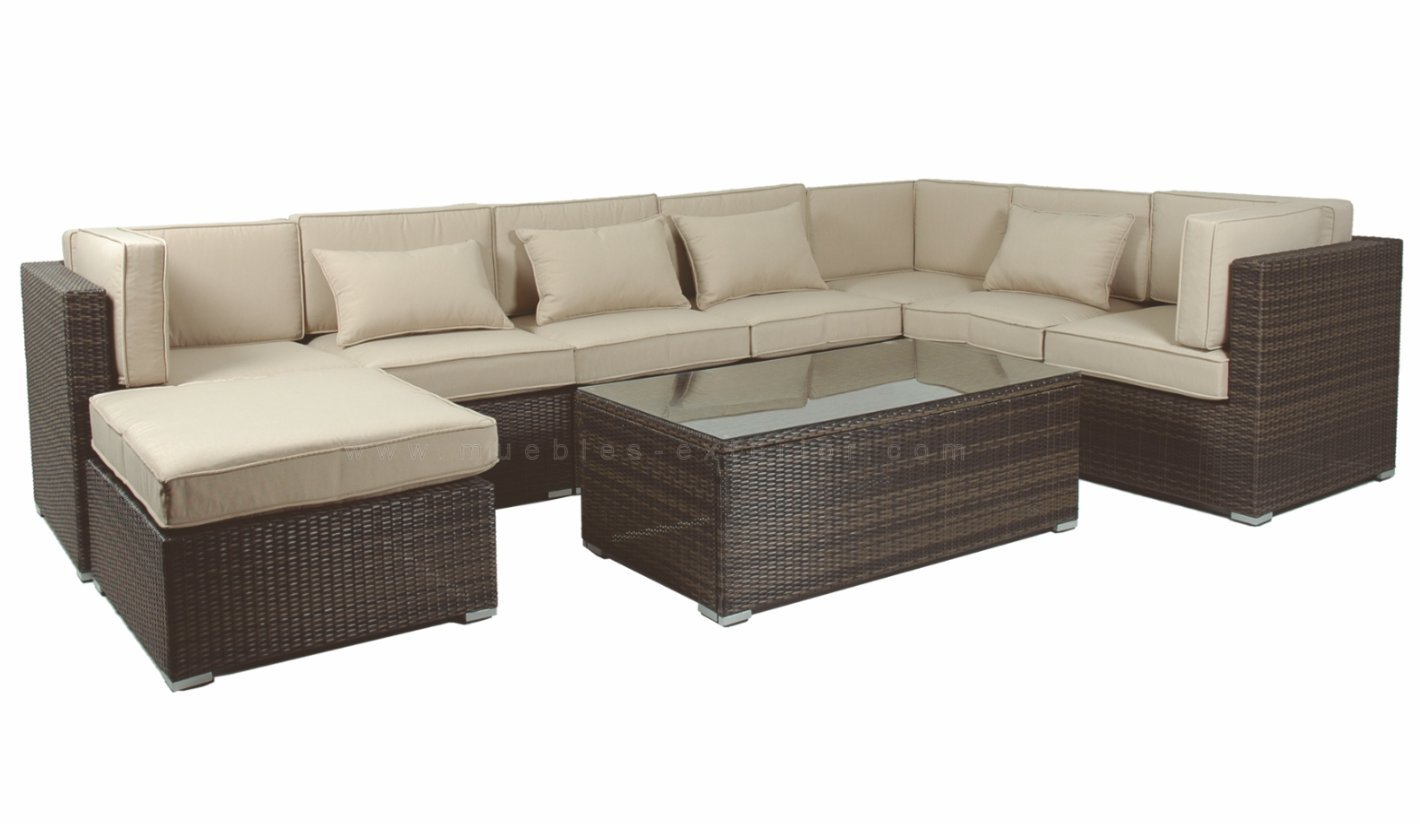 Modular rattan jaspeado chocolate for Muebles exterior madera