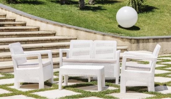 Sof s de jard n y exterior baratos s lo en muebles for Set de resina de jardin trenzado barato