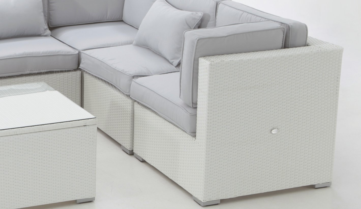 Muebles chill out seville for Sofa exterior aluminio blanco