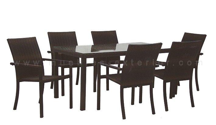 Sillas y mesas colecci n badajoz for Muebles de exterior de rattan