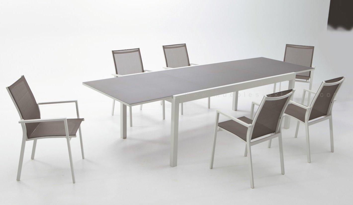 Conjunto jard n de aluminio blanco for Muebles exterior