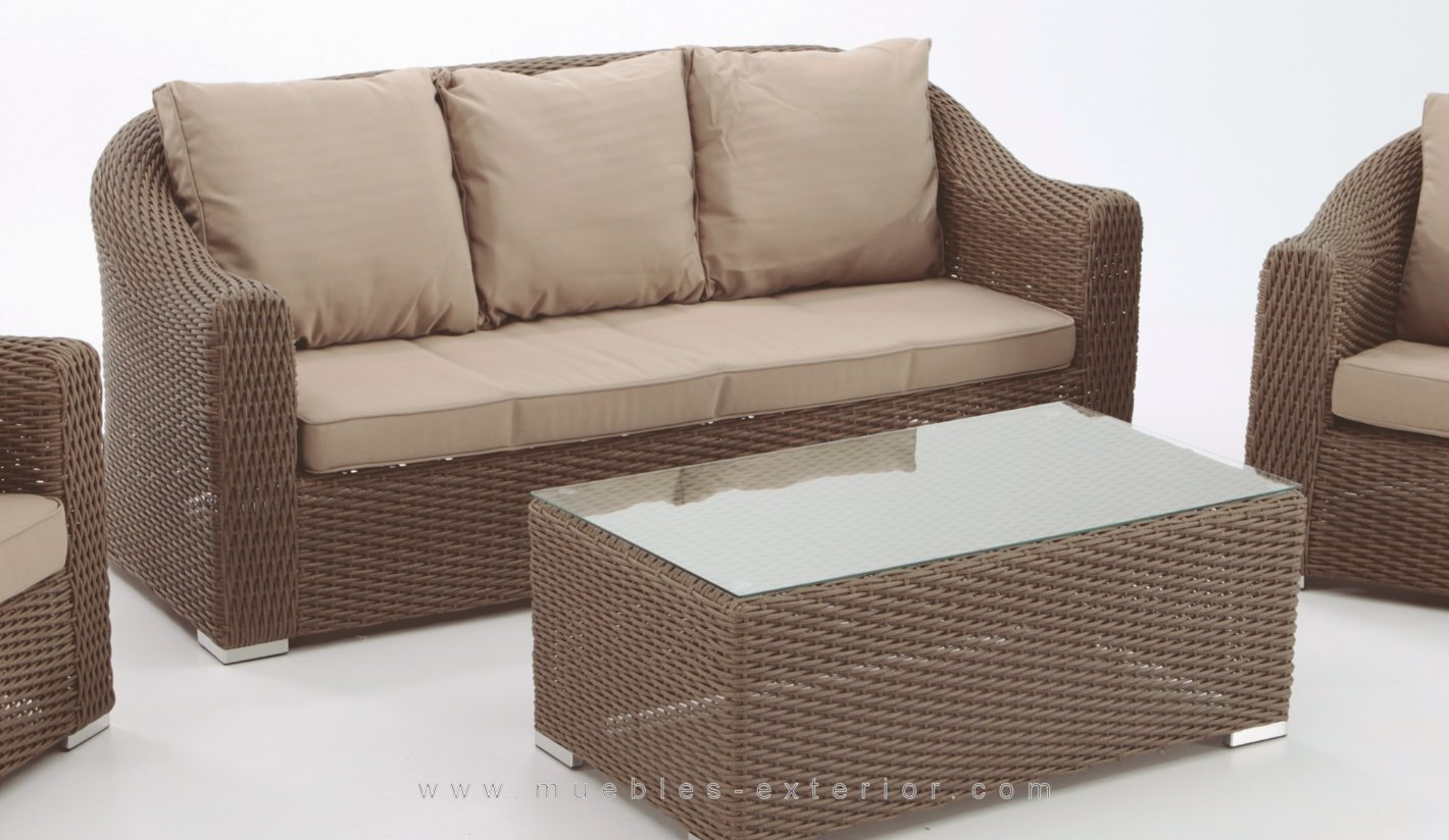 Conjunto sof s para jardin alacan moka for Conjunto sofa exterior