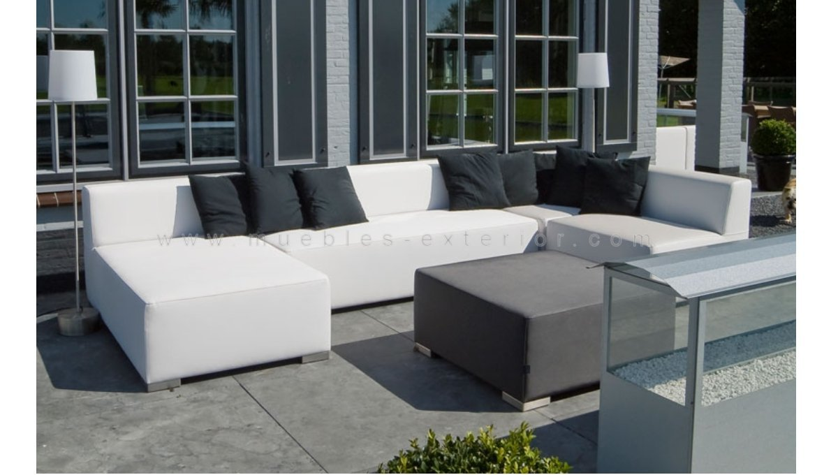 Sof central sin brazos 143 cm impermeable 90 5 cm for Sofa exterior impermeable
