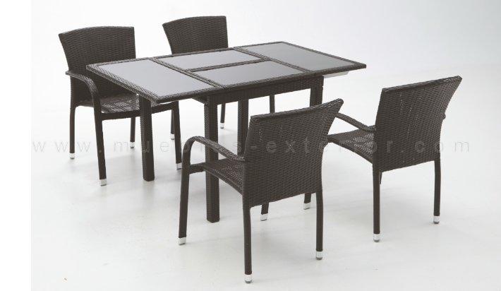 Mesa de jard n extensible 80 140 x 80 negro - Mesa resina leroy merlin ...