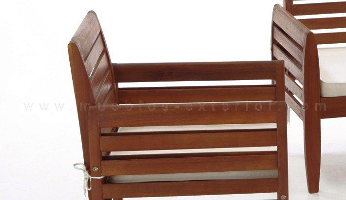 muebles para terraza fabricados en madera tropical totalmente aptos para exterior con cojines blancos incluidos este conjunto de exterior se vende en un