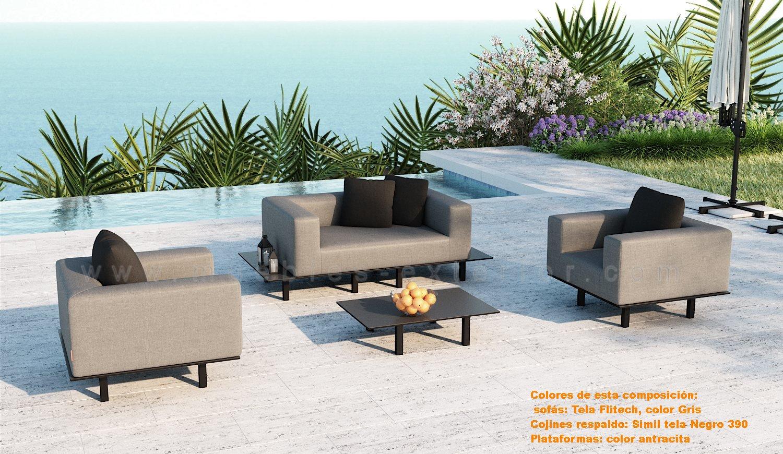 Sill n individual exterior platform con brazos for Muebles de jardin exterior