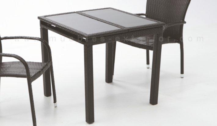 Mesa de jard n extensible 80 140 x 80 negro for Mesas de resina para jardin