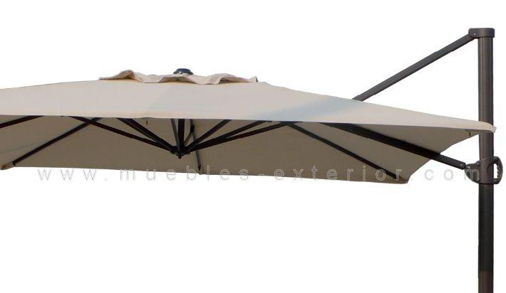 Parasol exc ntrico 3x3m giratorio for Recambio tela parasol 3x3