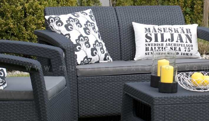 Set de jardin lounge orbit antracita for Set de resina de jardin trenzado barato